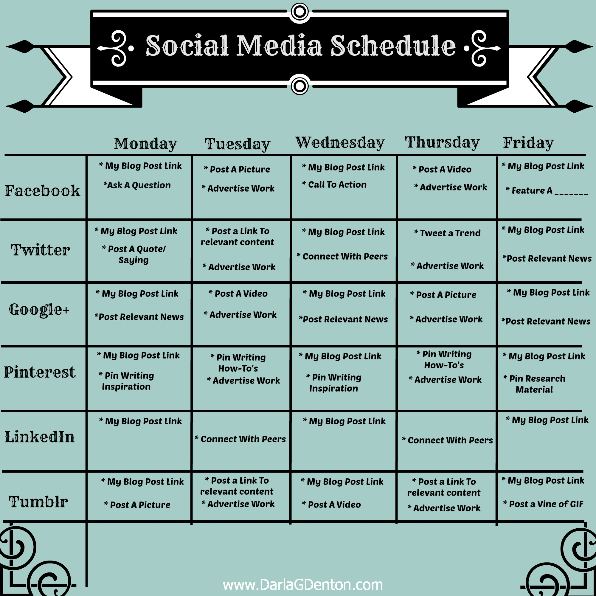 This is a very basic schedule template that I use to help keep me in ...