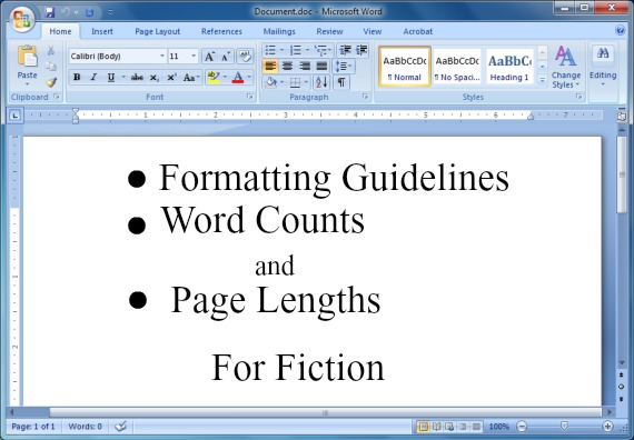 Formatting Guidelines Word Counts and Page Lengths for Fiction